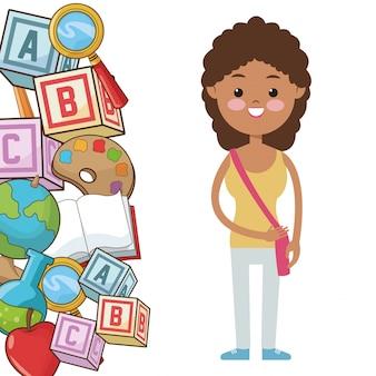 L'allievo della ragazza del bambino di afro fornisce la scuola