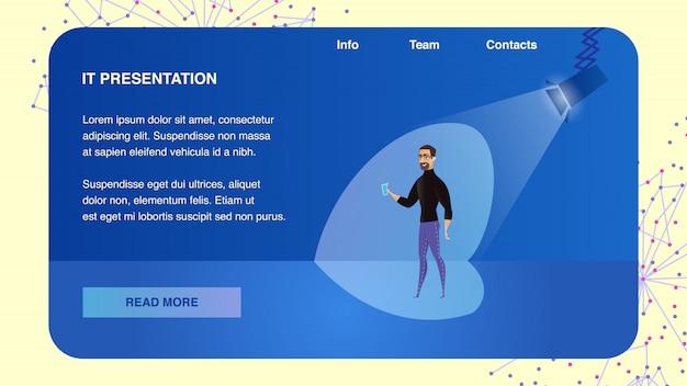 L'altoparlante di vector man parla del nuovo progetto aziendale