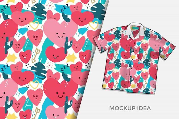 L'amore astratto scarabocchia il modello senza cuciture di progettazione della maglietta del modello