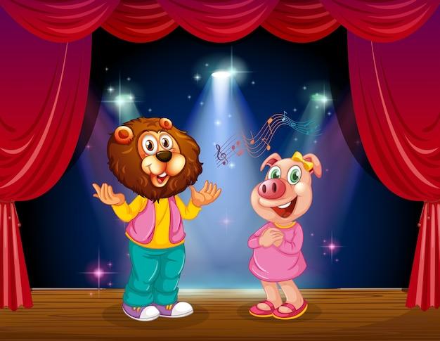 L'animale si esibisce sul palco