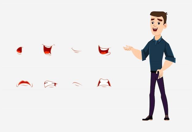 L'animazione della bocca del personaggio dei cartoni animati del giovane ha messo per la vostra progettazione, movimento e animazione.