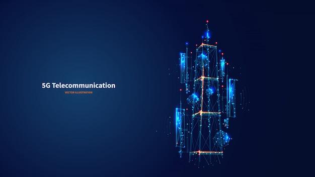 L'antenna blu astratta 3d ha isolato l'antenna 5g sul fondo della tecnologia dell'innovazione. vettore digitale wireframe basso poli. poligoni e punti collegati. concetto futuristico della torre di telecomunicazione di internet.