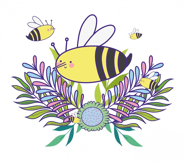 L'ape con i rami della molla lascia la pianta