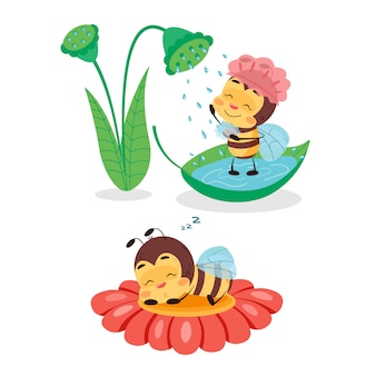 L'ape sta facendo la doccia e dorme sul fiore. illustrazione di progettazione di carattere per i bambini su fondo isolato bianco. la vita delle api carina e divertente