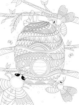 L'ape vola intorno alla pagina da colorare per adulti a nido d'ape