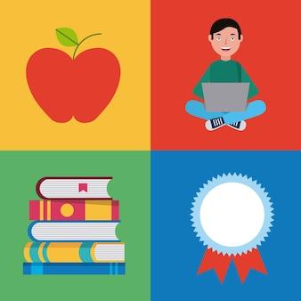 L'apprendimento di istruzione online set icone illustrazione vettoriale
