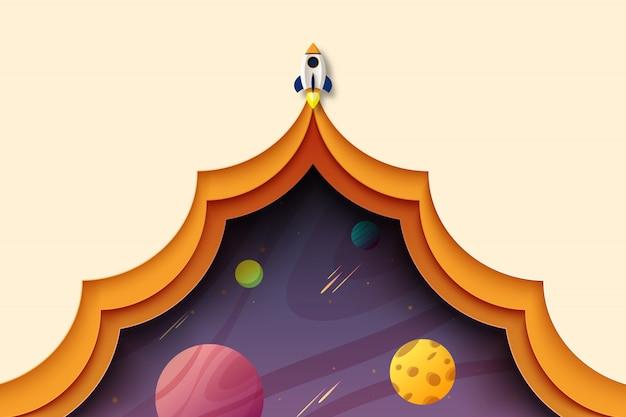 L'arte cartacea del lancio di un razzo esplora lo sfondo del modello di pagina di atterraggio dello spazio cosmico della galassia.