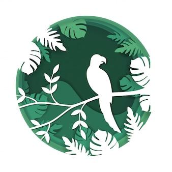L'arte di carta scolpisce all'uccello sul ramo di albero in foresta tropicale a nightr