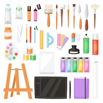 L'artista degli strumenti dell'artista con la tavolozza dei pennelli per le pitture di colore su tela per materiale illustrativo nella pittura artistica dell'illustrazione dello studio di arte ha messo su fondo bianco