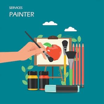 L'artista del pittore assiste l'illustrazione piana di progettazione di stile