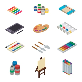 L'artista vector l'acquerello di strumenti con la tavolozza dei pennelli e le pitture di colore su tela per materiale illustrativo nell'insieme isometrico della pittura artistica dell'illustrazione dello studio di arte isolato