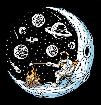 L'astronauta brucia marshmallow con falò sull'illustrazione della luna
