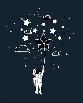 L'astronauta disegna con la stella