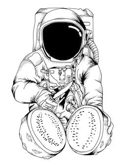 L'astronauta divide l'anguria della luna