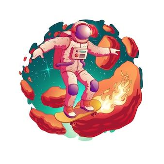 L'astronauta in tuta spaziale che guida lo skateboard con il fuoco dalle ruote sugli asteroidi allaccia nell'icona di vettore del fumetto dello spazio cosmico isolata. futuro adolescente fantastico piacere e concetto divertente