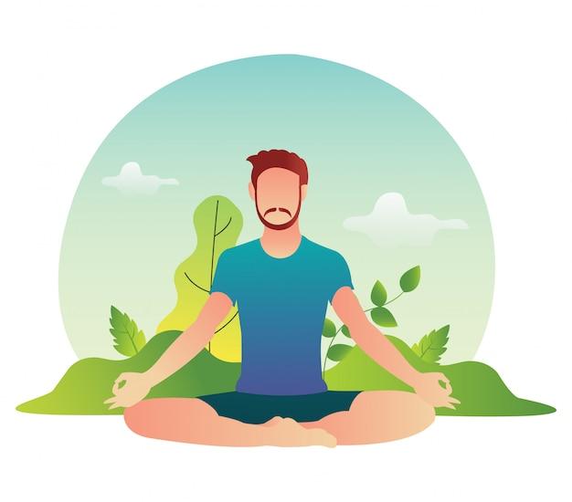 L'atleta yoga maschio si sta rilassando nella pratica pomeridiana.