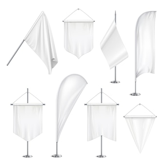 L'attaccatura in bianco bianca delle bandiere delle bandiere degli stendardi di varie forme di dimensioni e sull'asta sta l'illustrazione realistica dell'insieme