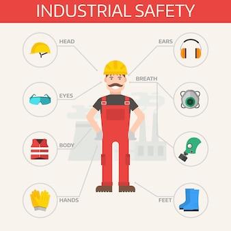 L'attrezzatura industriale e l'attrezzatura di sicurezza industriali hanno messo l'illustrazione piana di vettore. elementi di attrezzature di protezione del corpo infografica.