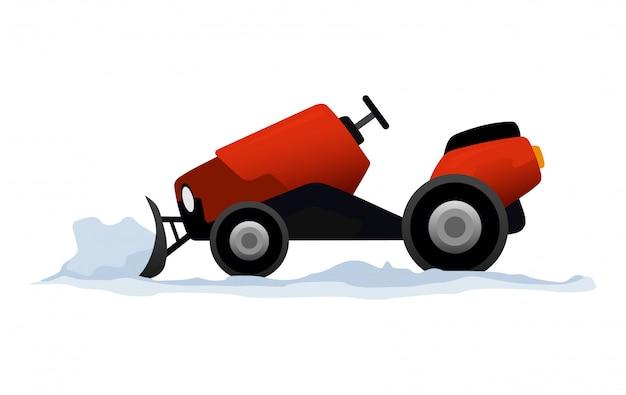 L'attrezzatura pulisce la strada dalla neve. lavori stradali. attrezzatura dell'aratro di neve isolata. mini trattore spazzaneve, trasporto spazzaneve