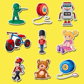 L'autoadesivo ha impostato con i giocattoli su priorità bassa gialla