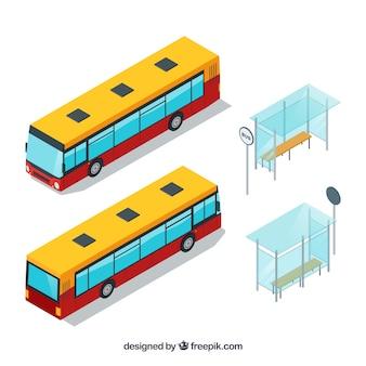 L'autobus si ferma con gli autobus in stile isometrico