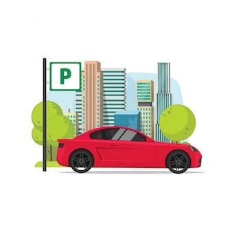 L'automobile ha parcheggiato nel segno del parcheggio vicino all'illustrazione della città nello stile piano del fumetto