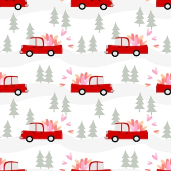 L'automobile sta trasportando i cuori sul reticolo senza giunte di san valentino.