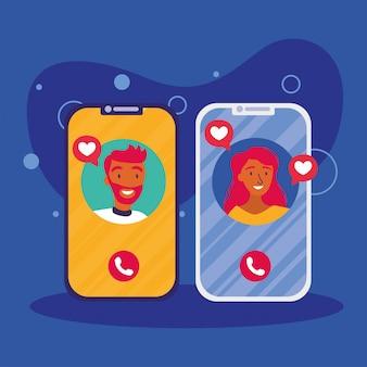 L'avatar dell'uomo e della donna sullo smartphone nella video chat di vettore progetta
