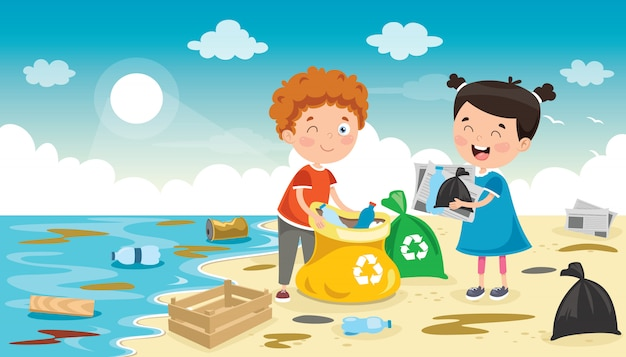 L, bambini piccoli che puliscono la spiaggia