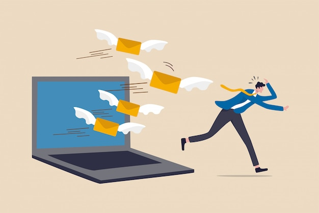 L'e-mail sovraccarica troppe e-mail indesiderate che riducono l'efficienza e la produttività nel lavoro e nel concetto di gestione del tempo, ragazzo dell'ufficio dell'uomo d'affari scappa dalla lettera della posta di volo di sovraccarico dal computer portatile del computer.
