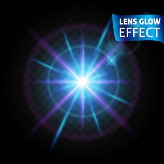 L'effetto bagliore dell'obiettivo. riflessi di luce incandescente, effetti di luce realistici luminosi lenti di colore blu e rosa.