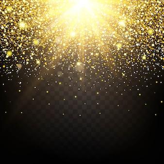 L'effetto di particelle che volano sopra la polvere di lucentezza dell'oro genera lusso