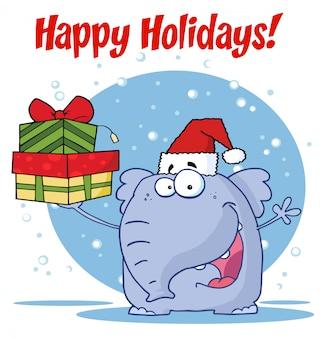 L'elefante felice di natale sostiene i regali e manda un sms alle feste felici!