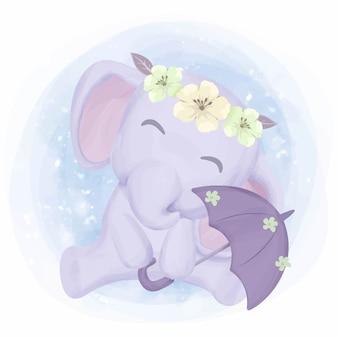 L'elefante ha un ombrello