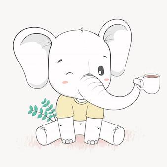L'elefante sveglio tiene una tazza di disegnato a mano del fumetto del tè