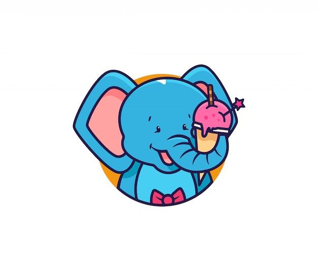 L'elefante testa logo mangia il gelato.
