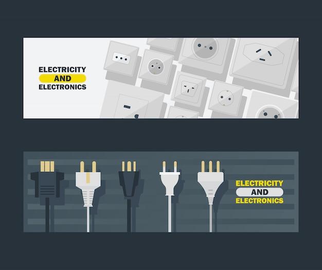 L'elettricità e l'elettronica hanno messo dell'illustrazione di vettore delle insegne. spine e prese elettriche in bianco e nero.