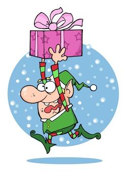 L'elfo di babbo natale corre con il regalo