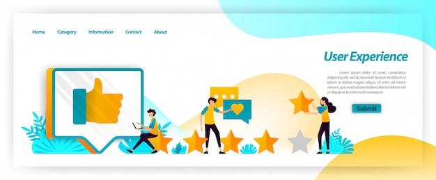 L'esperienza dell'utente inclusi commenti, valutazioni e recensioni è un feedback nella gestione della soddisfazione del cliente durante l'utilizzo dei servizi. modello web della pagina di destinazione