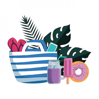 L'estate frondeggia le piante con la borsa della spiaggia e mette le icone