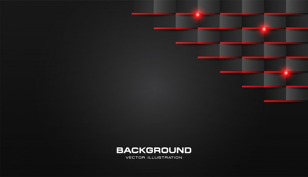 L'estratto 3d piega il nero scuro di lusso del modello geometrico di carta con luce brillante rossa