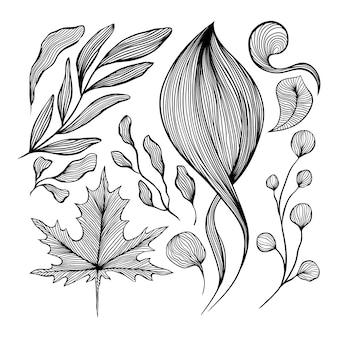 L'estratto ondeggia la linea in bianco e nero la decorazione di arte messa per progettazione della parete e della carta da parati.