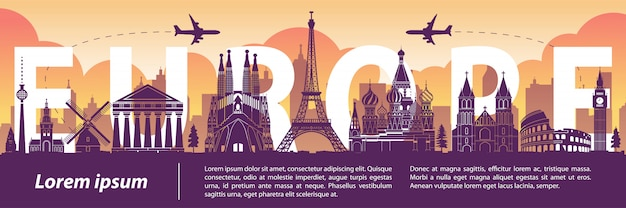 L'europa è famosa per lo stile di silhouette famoso, testo all'interno