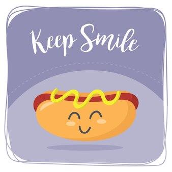 L'hot dog del fumetto con tiene il sorriso che scrive il disegno dell'autoadesivo