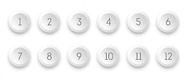 L'icona bianca 3d del cerchio ha messo con il punto elenco di numero da 1 a 12.