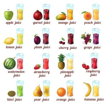 L'icona colorata e isolata del succo di frutta ha messo con la banana dell'arancia dell'uva della ciliegia della pesca della pesca del mango della mela e i succhi differenti