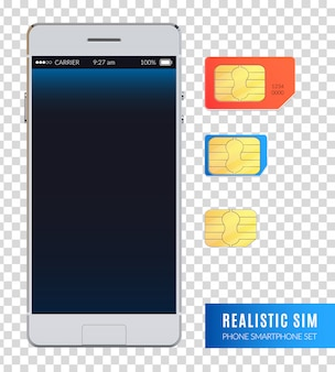 L'icona colorata e realistica dello smartphone del telefono sim ha messo con le varie dimensioni delle carte sim per l'illustrazione del dispositivo