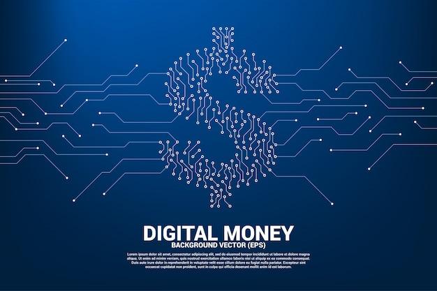 L'icona del dollaro dei soldi dal punto collega il circuito della linea