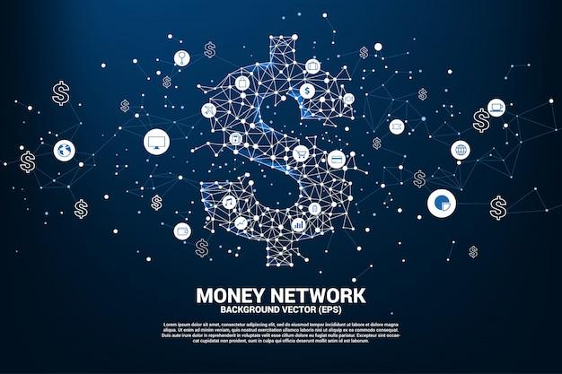 L'icona del dollaro dei soldi di vettore dal puntino del poligono collega la linea