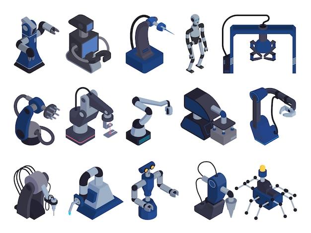 L'icona dell'insieme di colore di automazione del robot con le immagini isometriche isolate degli operatori del robot di scopo speciale e le armi del manipolatore vector l'illustrazione
